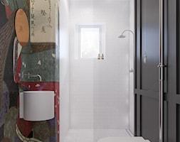 mieszkanie w kamienicy - Mała biała czarna kolorowa łazienka z oknem, styl eklektyczny - zdjęcie od oshi pracownia projektowa