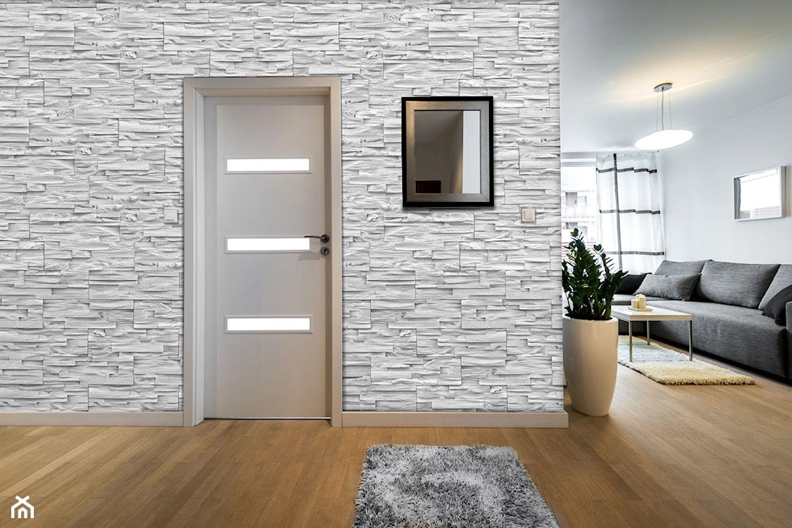kamień dekoracyjny w przedpokoju, szary kamień dekoracyjny, jasny kamień dekoracyjny, kamień dekoracyjny w stylu loftowym