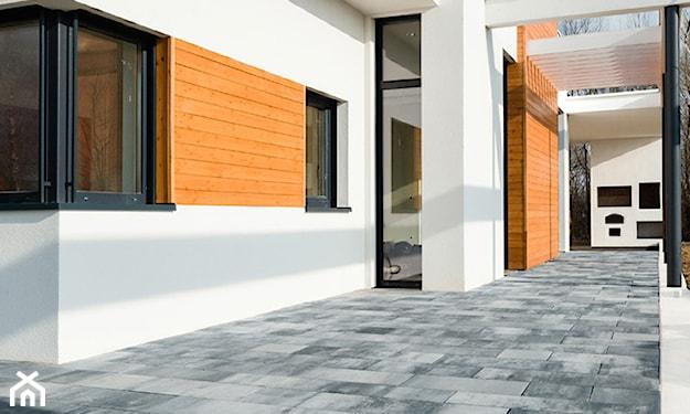 nowoczesny taras, taras z płyt, płyty betonowe