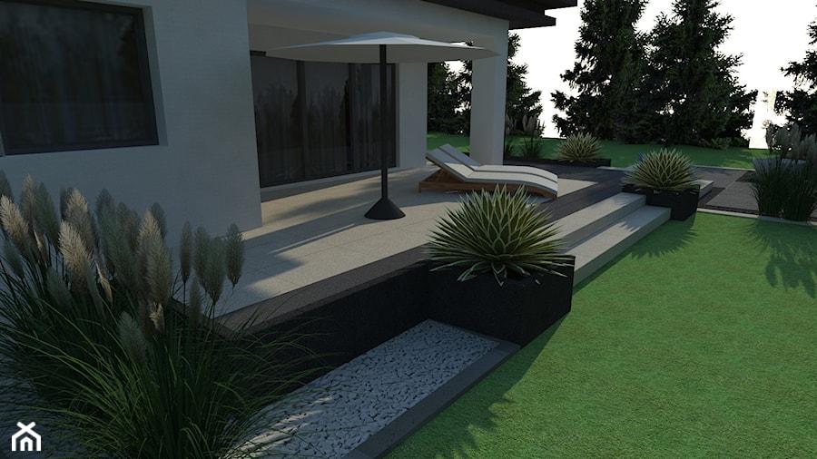 Taras ogrodowy - Średni taras z tyłu domu, styl nowoczesny - zdjęcie od BRUK-BET