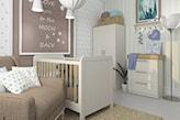 biała komoda w pokoju dziecka, beżowy fotel, beżowy dywanik, biała podłoga