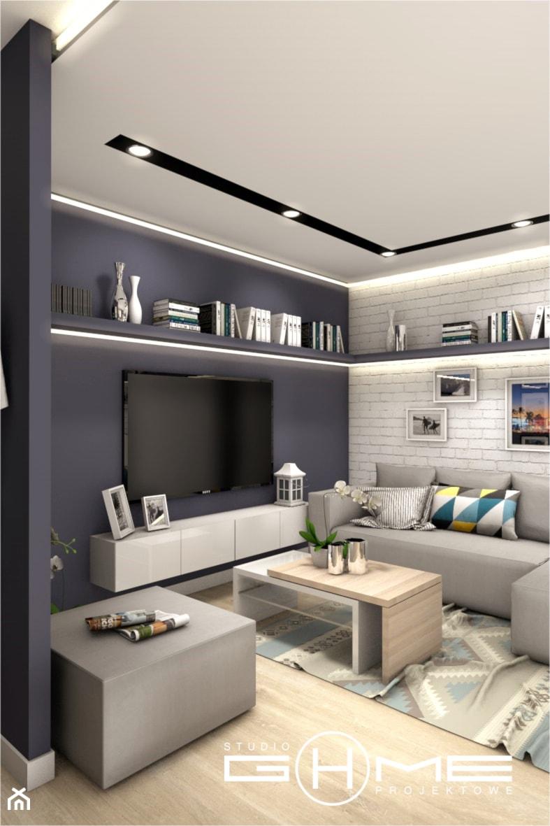Projekt Mieszkania 86m2 - Warszawa Ursynów - Salon, styl nowoczesny - zdjęcie od GoHome