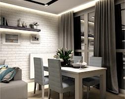 Projekt Mieszkania 86m2 - Warszawa Ursynów - Mała otwarta szara jadalnia w salonie, styl nowoczesny - zdjęcie od GoHome - Homebook