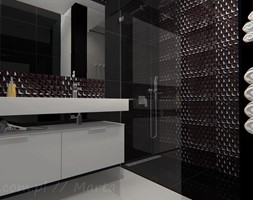 Łazienka 8 - Mała biała czarna łazienka na poddaszu w bloku w domu jednorodzinnym bez okna, styl no ... - zdjęcie od Salon Łazienek JACEK - Homebook