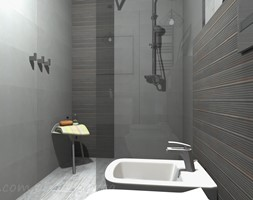 Łazienka 5 - Mała czarna szara łazienka w bloku w domu jednorodzinnym bez okna, styl rustykalny - zdjęcie od Salon Łazienek JACEK