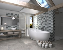 Łazienka 4 - Średnia biała czarna szara łazienka na poddaszu w domu jednorodzinnym z oknem, styl tr ... - zdjęcie od Salon Łazienek JACEK - Homebook