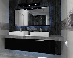 Łazienka 6 - Średnia biała czarna łazienka na poddaszu w bloku w domu jednorodzinnym bez okna, styl ... - zdjęcie od Salon Łazienek JACEK - Homebook