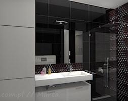 Łazienka 8 - Średnia biała czarna łazienka na poddaszu w bloku w domu jednorodzinnym bez okna, styl ... - zdjęcie od Salon Łazienek JACEK - Homebook