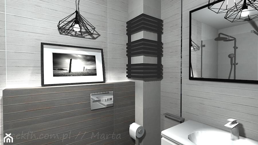 Łazienka 5 - Mała szara łazienka w bloku w domu jednorodzinnym bez okna, styl rustykalny - zdjęcie od Salon Łazienek JACEK