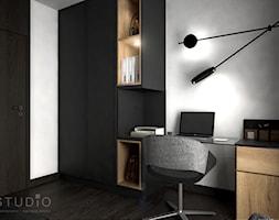 Apartament w Żorach III - Małe szare biuro pracownia domowe kącik do pracy na poddaszu w pokoju, styl industrialny - zdjęcie od K2studio