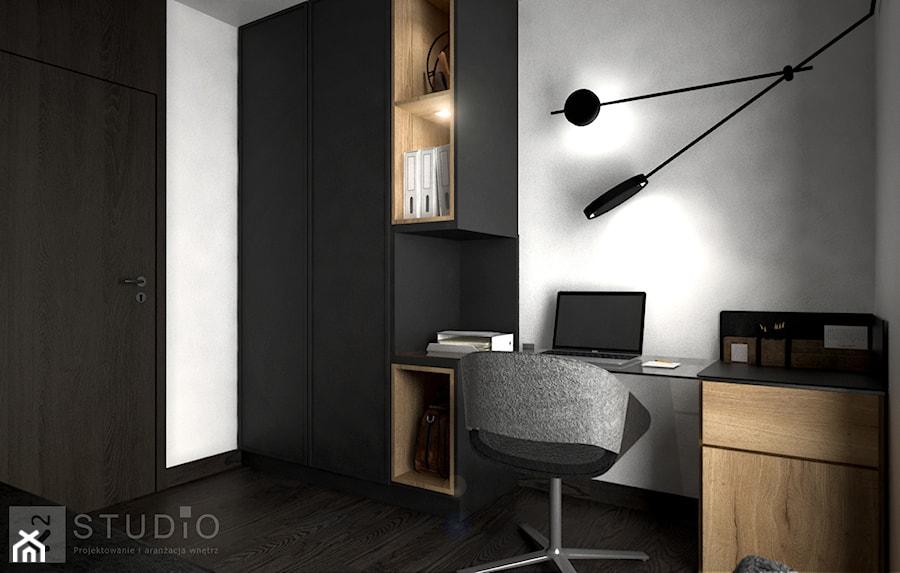 Aranżacje wnętrz - Biuro: Apartament w Żorach III - Małe szare biuro pracownia domowe kącik do pracy na poddaszu w pokoju, styl industrialny - K2studio. Przeglądaj, dodawaj i zapisuj najlepsze zdjęcia, pomysły i inspiracje designerskie. W bazie mamy już prawie milion fotografii!