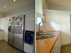 generalny remont domu - Duża otwarta szara kuchnia w kształcie litery u z wyspą, styl tradycyjny - zdjęcie od bm2 brzostek maciej