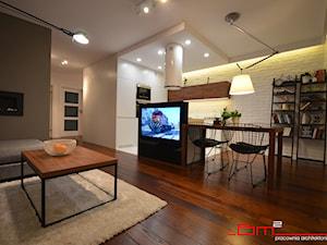 projekt mieszkania 65m2 - Średni biały salon z jadalnią, styl nowoczesny - zdjęcie od bm2 brzostek maciej