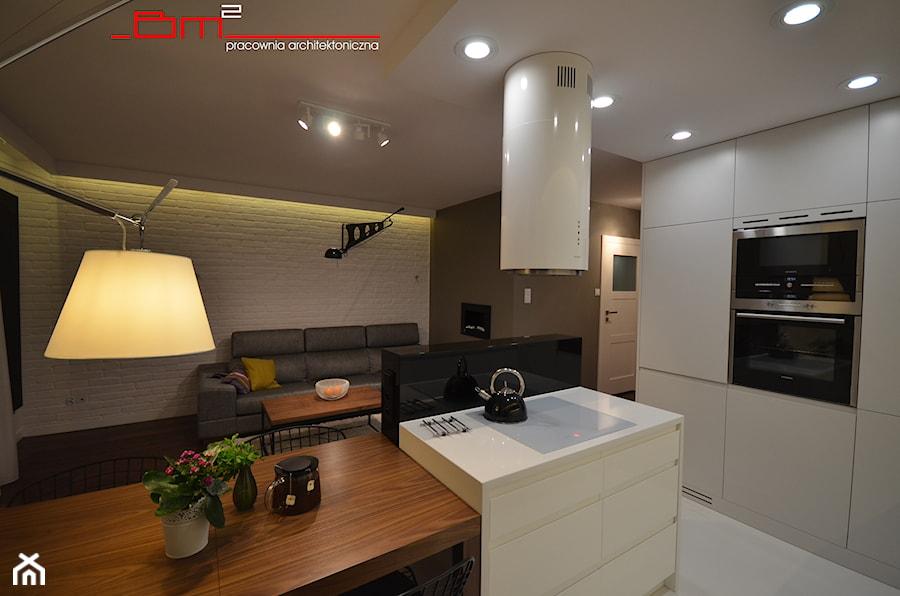 projekt mieszkania 65m2 - Średnia otwarta kuchnia z wyspą, styl nowoczesny - zdjęcie od bm2 brzostek maciej