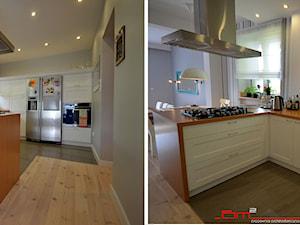 generalny remont domu - Średnia otwarta szara kuchnia w kształcie litery u z wyspą, styl tradycyjny - zdjęcie od bm2 brzostek maciej
