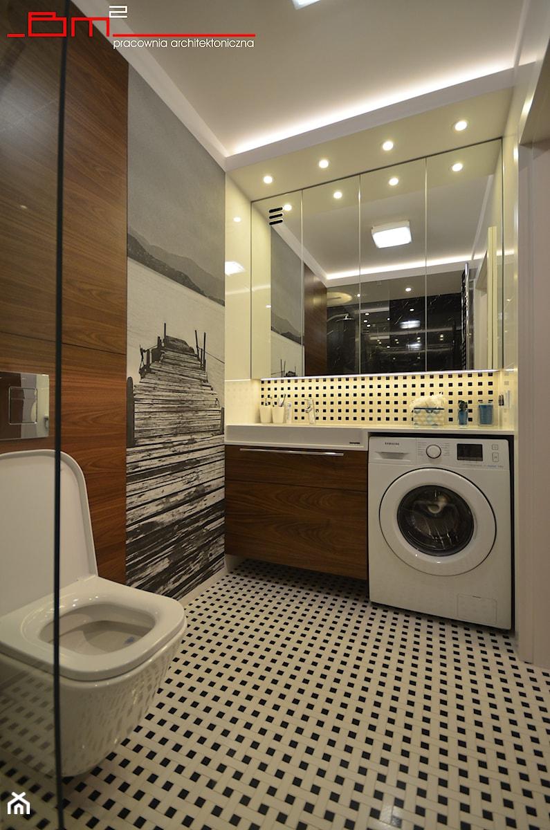 projekt mieszkania 65m2 - Mała łazienka w bloku w domu jednorodzinnym bez okna, styl nowoczesny - zdjęcie od bm2 brzostek maciej