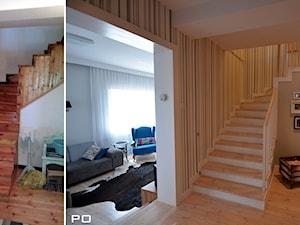 generalny remont domu - Średnie wąskie schody jednobiegowe zabiegowe wachlarzowe drewniane betonowe, styl klasyczny - zdjęcie od bm2 brzostek maciej