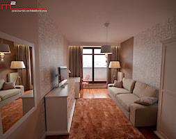 Mały szary brązowy salon, styl minimalistyczny - zdjęcie od bm2 brzostek maciej