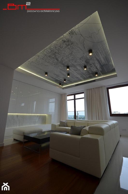 apartament 140m2 - Duży biały salon, styl minimalistyczny - zdjęcie od bm2 brzostek maciej - Homebook