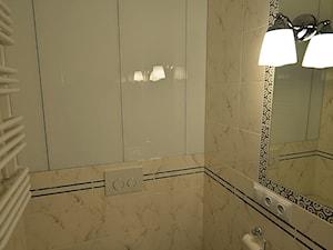 mieszkanie 90m2 - Mała biała łazienka w bloku w domu jednorodzinnym bez okna, styl klasyczny - zdjęcie od bm2 brzostek maciej