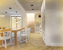 Dom pod Krakowem - Duża otwarta biała jadalnia w salonie, styl eklektyczny - zdjęcie od Krecha Studio
