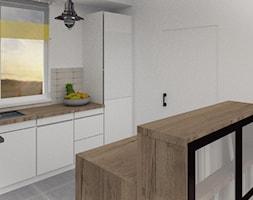 Rustykalny dom - Mała otwarta wąska biała kuchnia dwurzędowa w aneksie z oknem, styl rustykalny - zdjęcie od jaminska.pl