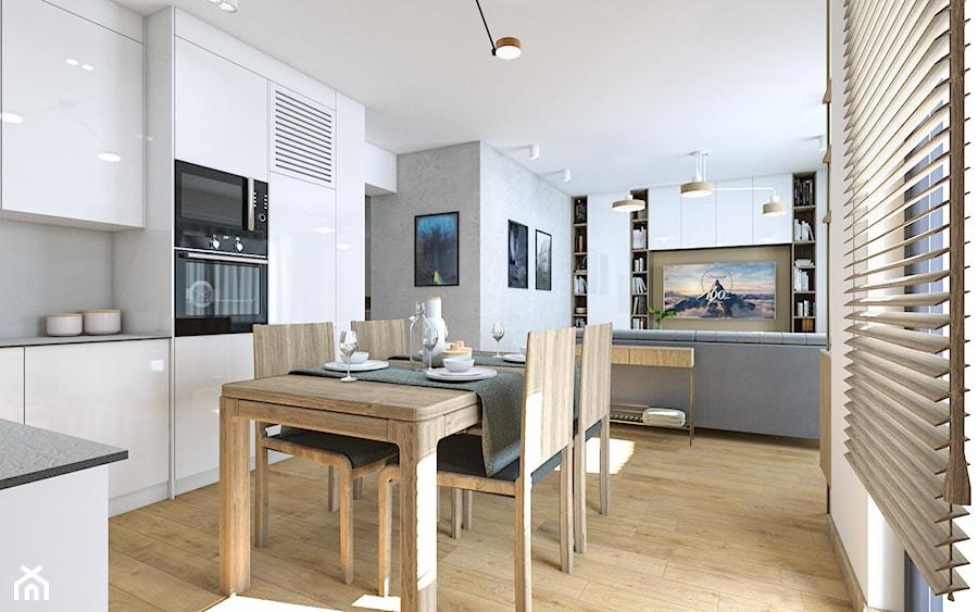Biała Kuchnia Z Drewnianą Podłogą Zdjęcie Od Ohhomeme