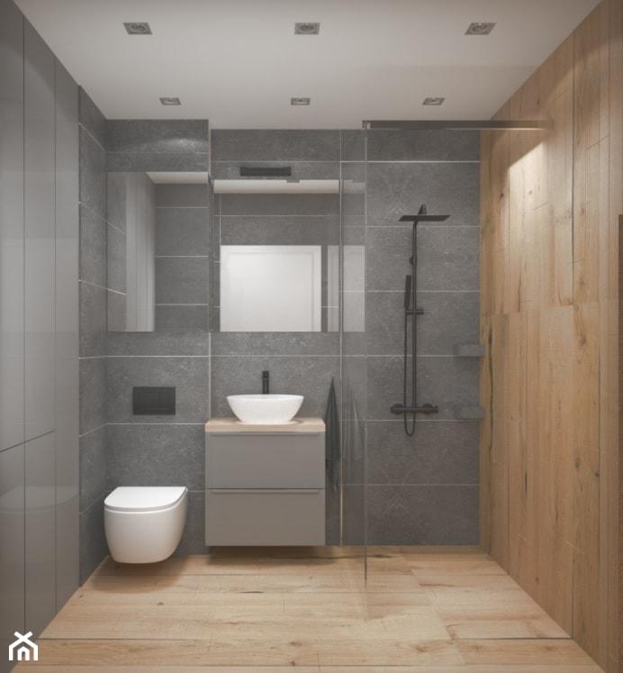 Szara łazienka Z Płytkami Z Imitacją Drewna Zdjęcie Od