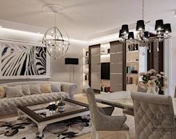 APARTAMENT SŁOMIŃSKIEGO - Średni beżowy salon, styl glamour - zdjęcie od MAJER concept - Homebook