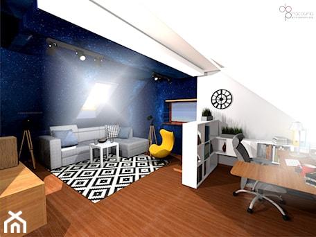 Aranżacje wnętrz - Pokój dziecka: pokój na poddaszu dla nastolatka - dopracownia architektoniczna. Przeglądaj, dodawaj i zapisuj najlepsze zdjęcia, pomysły i inspiracje designerskie. W bazie mamy już prawie milion fotografii!