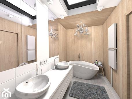 Aranżacje wnętrz - Łazienka: drewniana łazienka - Łazienka, styl skandynawski - dopracownia architektoniczna. Przeglądaj, dodawaj i zapisuj najlepsze zdjęcia, pomysły i inspiracje designerskie. W bazie mamy już prawie milion fotografii!
