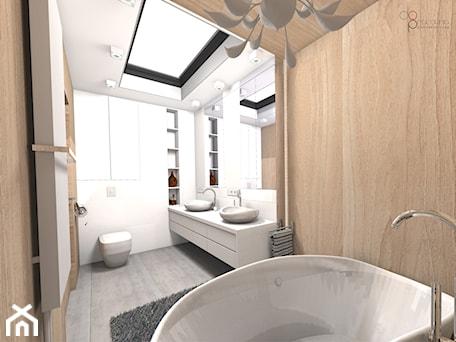 Aranżacje wnętrz - Łazienka: drewniana łazienka - Łazienka, styl nowoczesny - dopracownia architektoniczna. Przeglądaj, dodawaj i zapisuj najlepsze zdjęcia, pomysły i inspiracje designerskie. W bazie mamy już prawie milion fotografii!