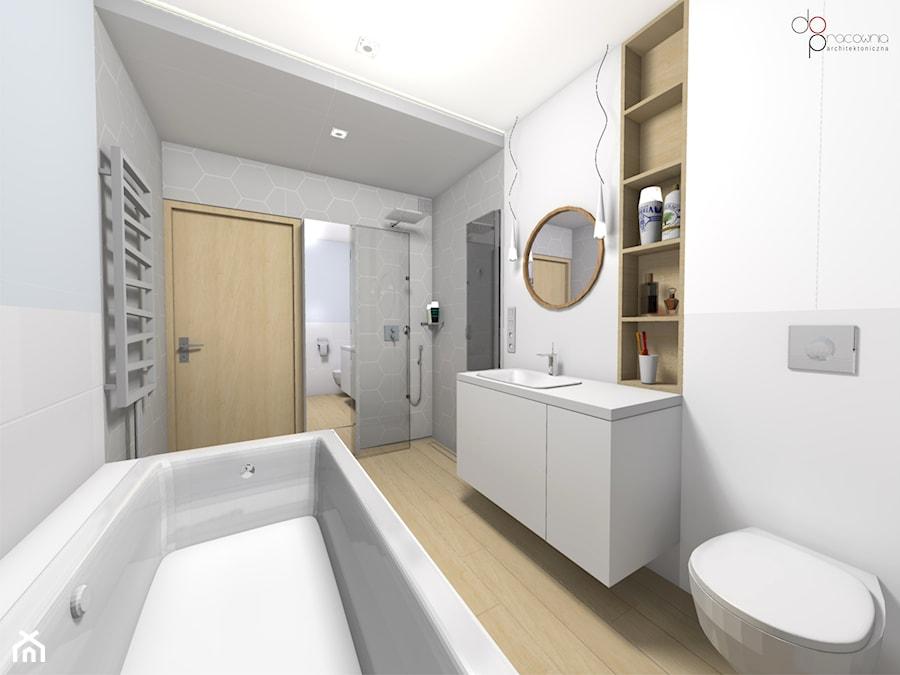 aranżacja długiej łazienki w domu - zdjęcie od dopracownia architektoniczna