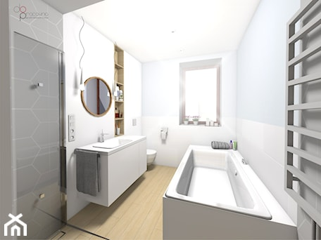 Aranżacje wnętrz - Łazienka: wąska łazienka - dopracownia architektoniczna. Przeglądaj, dodawaj i zapisuj najlepsze zdjęcia, pomysły i inspiracje designerskie. W bazie mamy już prawie milion fotografii!