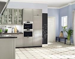 Lodówki - Średnia otwarta biała niebieska kuchnia w kształcie litery u w aneksie, styl tradycyjny - zdjęcie od Samsung Electronics Co., Ltd.
