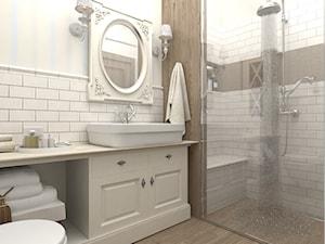 Mieszkanie w Krakowie - Mała biała łazienka na poddaszu w bloku w domu jednorodzinnym bez okna, styl prowansalski - zdjęcie od QUADRATO arch. Magdalena Gazda-Żemła