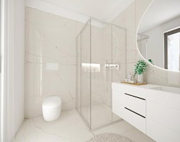 Dom w Sobieszewie - Średnia biała beżowa łazienka z oknem, styl minimalistyczny - zdjęcie od Pracownia Projektowa Decoretti - Agata Jachimowicz