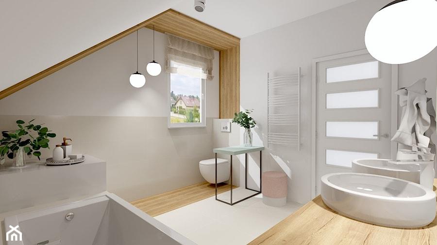Łazienka w Miechucinie - Średnia biała beżowa łazienka na poddaszu w domu jednorodzinnym z oknem, styl skandynawski - zdjęcie od Pracownia Projektowa Decoretti - Agata Jachimowicz