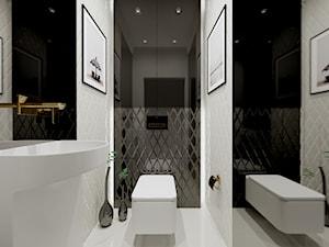 Dom w Kielnie - Mała biała czarna łazienka, styl klasyczny - zdjęcie od Pracownia Projektowa Decoretti - Agata Jachimowicz