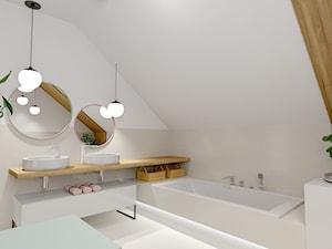 Łazienka w Miechucinie - Duża biała beżowa łazienka na poddaszu w domu jednorodzinnym jako domowe spa z oknem, styl skandynawski - zdjęcie od Pracownia Projektowa Decoretti - Agata Jachimowicz