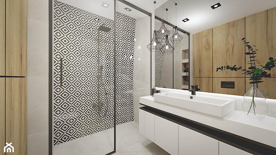 Apartament w Kościerzynie - Mała biała szara łazienka w bloku w domu jednorodzinnym bez okna - zdjęcie od Pracownia Projektowa Decoretti - Agata Jachimowicz
