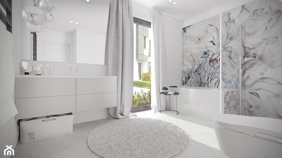 Mieszkanie w Baninie - Średnia biała szara kolorowa łazienka z oknem, styl minimalistyczny - zdjęcie od Pracownia Projektowa Decoretti - Agata Jachimowicz