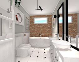 Na skraju lasu - Średnia biała łazienka na poddaszu w bloku w domu jednorodzinnym z oknem, styl rustykalny - zdjęcie od Pracownia Projektowa Decoretti - Agata Jachimowicz