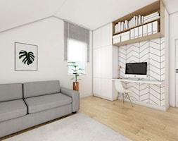 Dom w Czaplach - Średnie białe biuro domowe kącik do pracy na poddaszu w pokoju - zdjęcie od Pracownia Projektowa Decoretti - Agata Jachimowicz