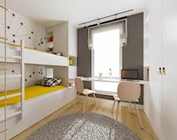 Apartament Słoneczna Oliwa - Średni biały czarny pokój dziecka dla chłopca dla dziewczynki dla rodzeństwa dla ucznia dla nastolatka, styl nowoczesny - zdjęcie od Pracownia Projektowa Decoretti - Agata Jachimowicz