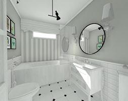 Na skraju lasu - Mała szara łazienka na poddaszu w bloku w domu jednorodzinnym z oknem, styl rustykalny - zdjęcie od Pracownia Projektowa Decoretti - Agata Jachimowicz