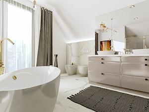 Złoto i Marmur - Średnia biała łazienka z oknem, styl nowoczesny - zdjęcie od Pracownia Projektowa Decoretti - Agata Jachimowicz