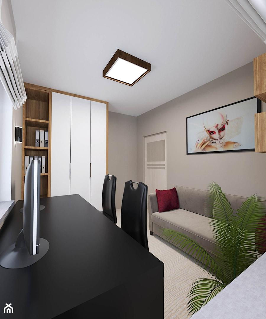 Apartament Morena - Metamorfoza - Średnie beżowe biuro domowe w pokoju, styl nowoczesny - zdjęcie od Pracownia Projektowa Decoretti - Agata Jachimowicz