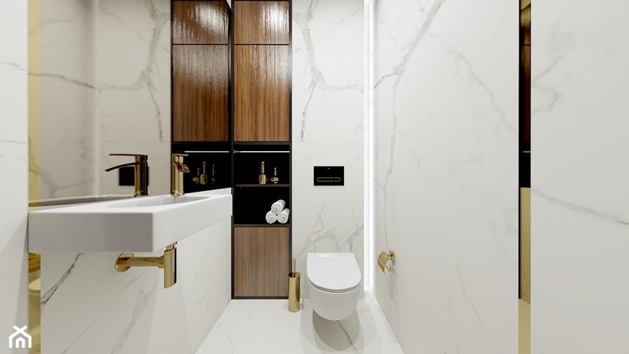 Dom w Kielnie - Średnia biała łazienka, styl nowoczesny - zdjęcie od Pracownia Projektowa Decoretti - Agata Jachimowicz