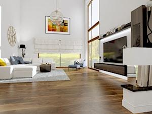 Dom w Kielnie - Duży biały brązowy pomarańczowy salon, styl tradycyjny - zdjęcie od Pracownia Projektowa Decoretti - Agata Jachimowicz